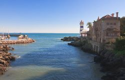 Lighthouse.Cascais,. Portugall Royalty Free Stock Image
