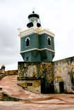Lighthouse, Castillo San Felipe del Morro. On top of el Morro Fortress, Old San Juan Puerto Rico.  Build by US.  The original Spanish lighthouse was destroyed Royalty Free Stock Images