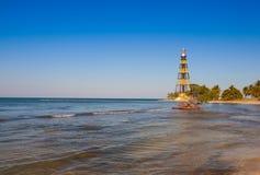 Lighthouse on the Cayo Jutias beach, Cuba Royalty Free Stock Images