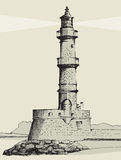 Lighthouse in Chania, Crete, hand drawn royalty free illustration