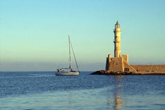 Lighthouse in Chania, Greece. Lighthouse in Chania (Greece) in the morning Stock Photo