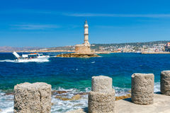 Lighthouse in Chania. Greece. Royalty Free Stock Photos