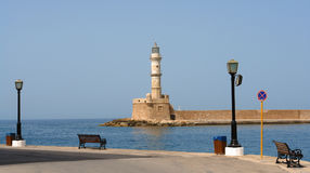 Lighthouse in chania harbor Stock Photography