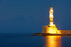 The lighthouse of Chania at night Royalty Free Stock Images