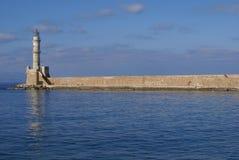 Lighthouse of Chania, the old port, Crete island, Greece Stock Photos