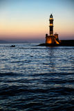 Lighthouse of Chania. Sunset seascape of Chania's lighthouse, Crete, Greece Stock Photos