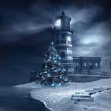 Lighthouse and christmas tree Stock Photo
