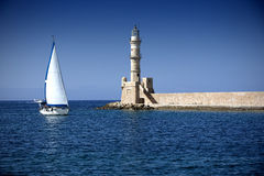 Lighthouse in the city of Chania Stock Photo