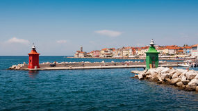 The lighthouse in city Piran Stock Photography