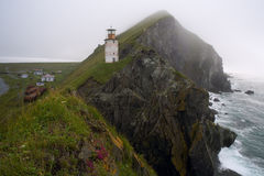 Lighthouse on a cliff above the sea. Royalty Free Stock Photos