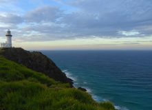 Lighthouse on cliff, byron bay. The famous Byron Bay Lighthouse and the beautiful scenery around it Stock Photos