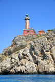 Lighthouse on the cliff. Royalty Free Stock Images