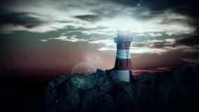 Lighthouse on the cliff at night Royalty Free Stock Photos