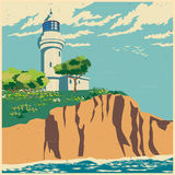 Lighthouse on a cliff old poster. Stylized vector illustration of a lighthouse on a cliff Stock Photo