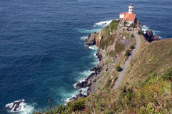 Lighthouse on cliff by sea Stock Photography