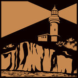 Lighthouse on a cliff. Stylized vector illustration of a lighthouse on a cliff stock illustration