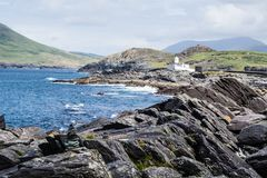 lighthouse cliff valentia island ireland royalty free stock images