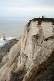 Lighthouse and cliffs. Beachy Head, Suusex - a famous spot for suicides stock photos