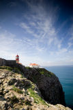 Lighthouse on the cliffs. The lighthouse at Cape Saint Vincent, near Sagres, Portugal, historically known as the 'end of the world Stock Photo