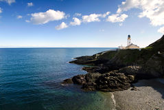Lighthouse on Cliffs with Beach and sea. On a sunny day. Douglas - Isle of Man Stock Photo