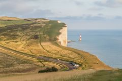Lighthouse and cliffs at Birling Gap. Lighthouse and view over cliffs at Birling Gap, England Stock Photos