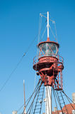 Lighthouse. Close-up of a mobile lighthouse installed on a boat Royalty Free Stock Photo