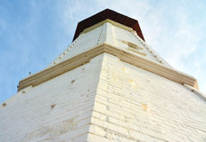 Lighthouse. Close up shot of lighthouse with blue sky at the background Stock Photography