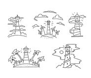 Lighthouse in the clouds fog beacon seamark Islands. And palm ocean illustration sea tourism adventure. Hand drawn vector stock illustration. Pen or pencil vector illustration
