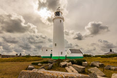 Lighthouse & clouds. Photo was taken in area of Milford on sea, Keyhaven next to the Hurst Castle,UK royalty free stock photos