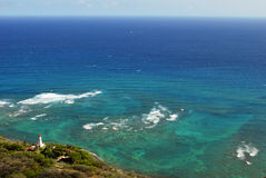 Lighthouse on the coast. Diamond Head lighthouse from Diamond Head Crater on Oahu Hawaii Stock Image