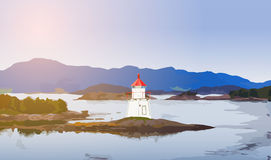 Lighthouse on coast. Lighthouse on fjord coast in Norway Stock Photography