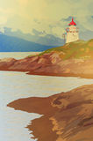 Lighthouse on coast. Lighthouse on fjord coast in Norway. EPS 10 format Stock Photography