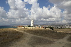 Lighthouse on the coast of the Mediterranean sea Royalty Free Stock Images