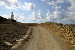 Lighthouse on the coast of the Mediterranean sea Stock Photos