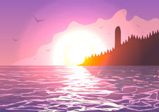 Lighthouse on the coast of the ocean at sunset. Vector illustration. Lighthouse on the coast of the ocean at sunset stock illustration