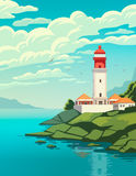 Lighthouse on coast of sea, structure of lighthouse on shore. Stock Image