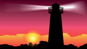 Lighthouse on the coast - vector Royalty Free Stock Images