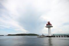 Lighthouse on coastal area. Royalty Free Stock Image