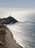 Lighthouse and Coastline near Cabo De Gata Stock Photo