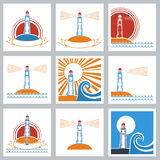 Lighthouse colors icons. Royalty Free Stock Image