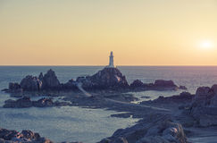 Lighthouse Corbiere, Jersey Island Stock Image