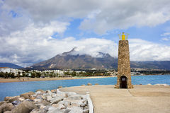 Lighthouse on Costa del Sol in Spain Stock Photos