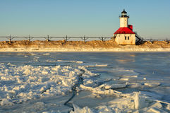 Lighthouse with Cracked Ice stock photos