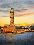 Lighthouse on Crete, Greece. The lighthouse in Hania, Landmark, Crete Island - Greece stock image