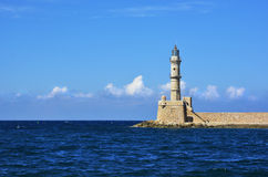 Lighthouse in Crete. Lighthouse in Greece. Travel to Hania. Oldest lighthouse in Europe stock image
