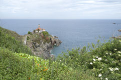 Lighthouse at Cudillero - Horizontal. Cudillero Lighthouse on the Asturian coast in spring Stock Image