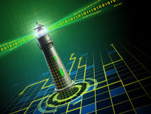 Lighthouse in cyberspace Stock Images