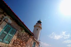 Lighthouse in Cyprus. Coastal lighthouse in Paphos (Cyprus Royalty Free Stock Photo