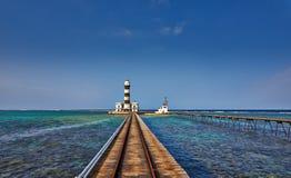 lighthouse on Daedalus Reef Royalty Free Stock Image
