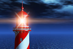 Lighthouse at dark night in ocean. Creative abstract navigation security and safety business concept: beautiful sea scenery of lighthouse tower with light beam royalty free illustration
